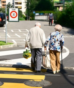 Senior couple hand-in-hand