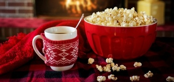 hygge: popcorn and hot chocolate